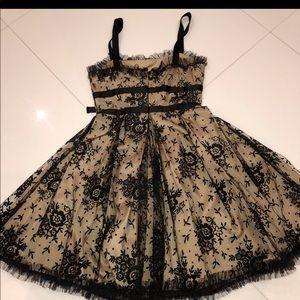 Valentino Black-Nude Lace Satin Dress